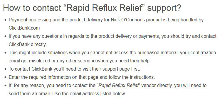 How to contact Rapid Reflux Relief support